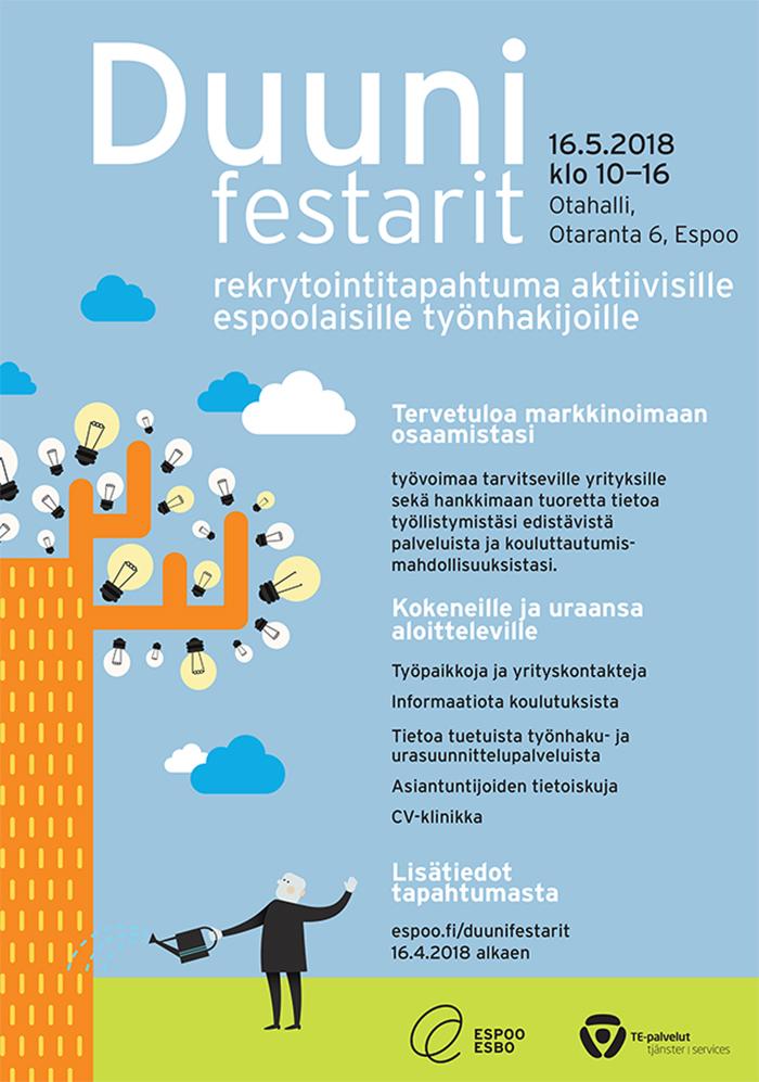 Olemme mukana Duunifestareilla keskiviikkona 16.5. klo 10.00 – 16.00 Espoon Otahallissa Otaniemessä